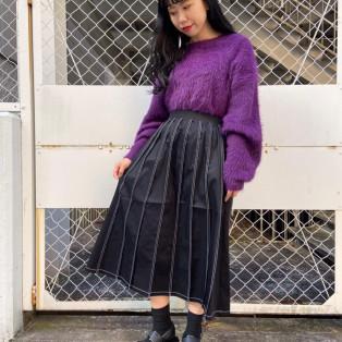 新作★ステッチプリーツロングスカート