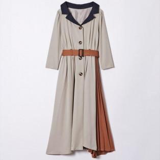 衿配色サイドプリーツ7分袖ワンピース
