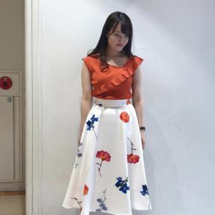 ♡グログランボーダー花柄スカート♡