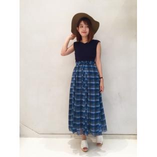 50%OFF♡チェックマキシスカート