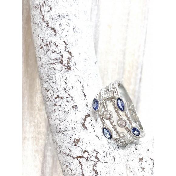 フランス製 シルバー&ブルーリング  CHIAVI D'ORO (キアーヴィドォーロ)