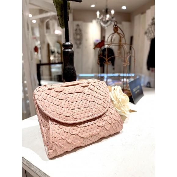 パイソンミニ財布 フラーゴラ (ピンク)+ ゴールドクロス CHIAVI D'ORO (キアーヴィドォーロ)