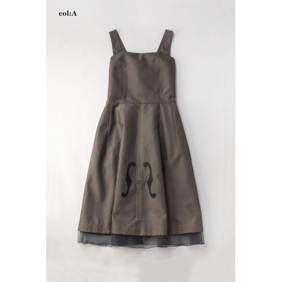 Violin embroidery ストラップドレス