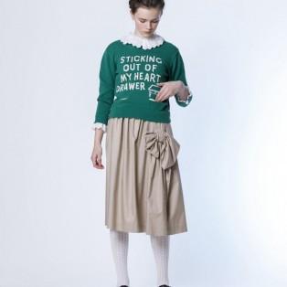 コットンテンセルツイル ドレープリボンスカート