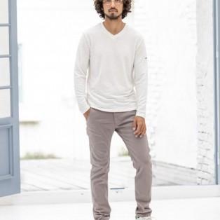 CALL&RESPONSE メランジ Vネック ロングTシャツ ホワイト
