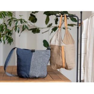 麻の素朴さにヌメ革で品を。 シーンレスに連れ歩けるバッグ 「インダス」