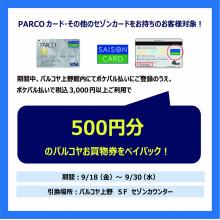 ポケパル払いご登録&ポケパル払いで税込み3,000円以上ご利用でパルコヤお買物券をペイバック!