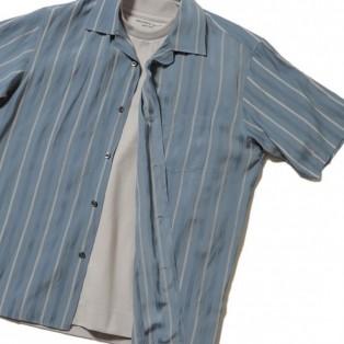 MEN'S BIGI    ラメ入りストライプオープンカラーシャツ
