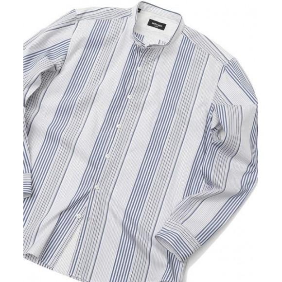 「爽やかなストライプのバンドカラーシャツ!」