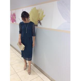 [50%OFF]レース×袖付きドレス