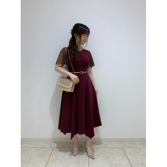 袖付きミモレ丈ドレス♪