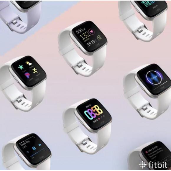 Fitbit フィットビット Versa ヴァーサ フィットネス スマートウォッチ  腕時計 メンズ レディース White /Black Aluminum FB505GMWT