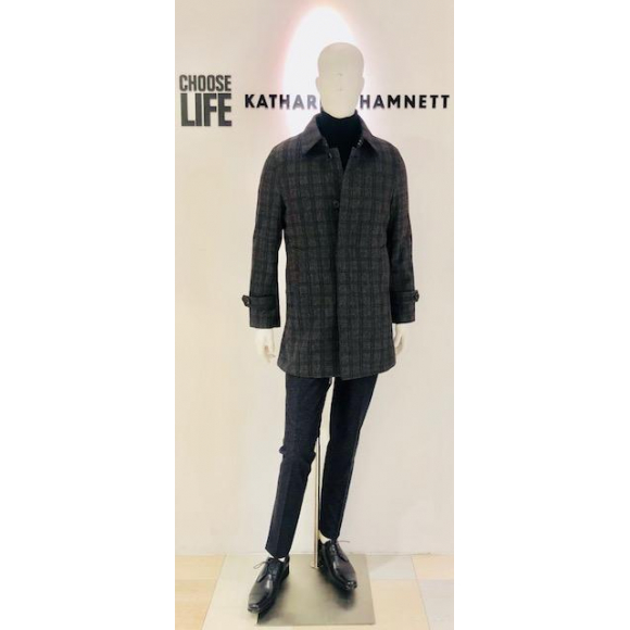 「KATHARINE HAMNETT LONDON 」BONDING CHECK STAND FALL COLLAR COAT