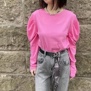 カラーパフスリーブTOP[Color:ピンク]