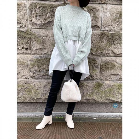 ボア巾着バッグ[Color:オフホワイト]