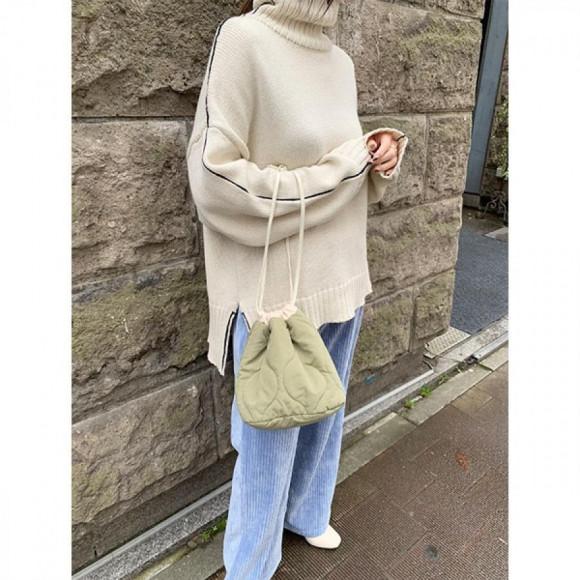 キルティング巾着バッグ[Color:カーキ]
