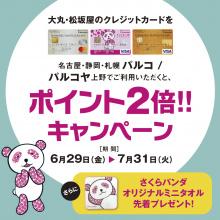 大丸・松坂屋クレジットカードご利用でポイント2倍!