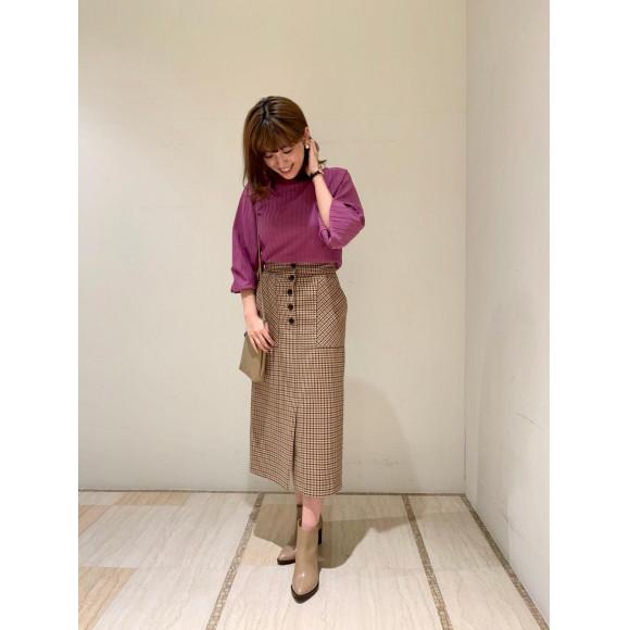 【チェック特集】マエボタンタイトスカート