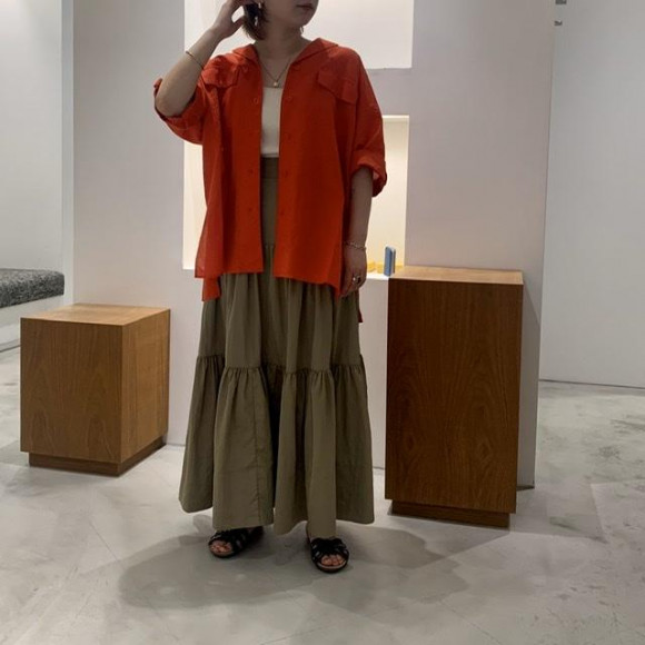 リネン開襟ロングシャツジャケット