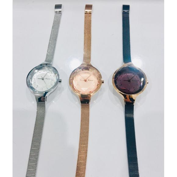 カットガラスメッシュ腕時計