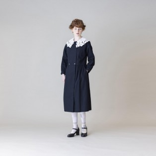 【Jane Marple Dans Le Salon】ヴィンテージレースカラーコートドレス