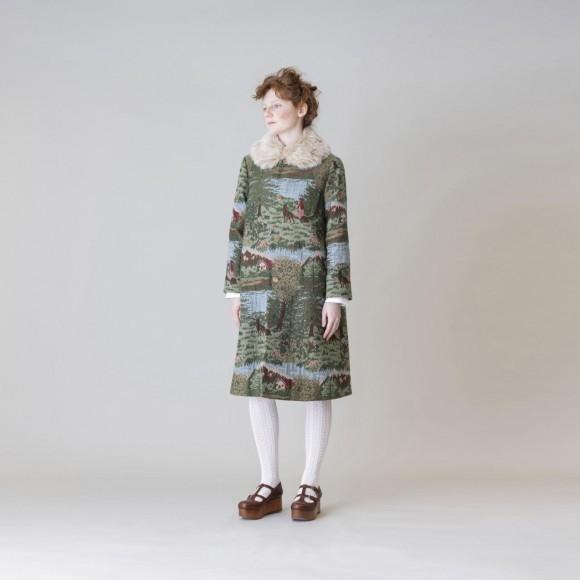 【Jane Marple】Fairy tale gobelinファーカラーコート
