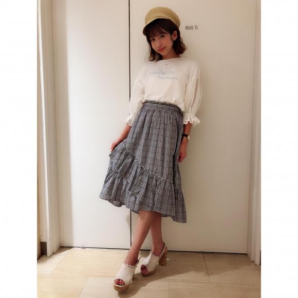 New♡Tシャツ×カシュクールスカートコーデ