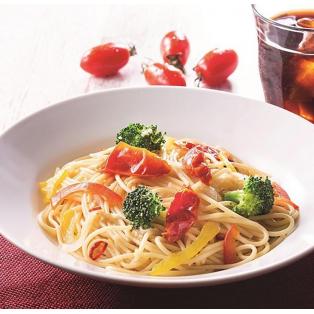 セミドライトマトと野菜のペペロンチーノ