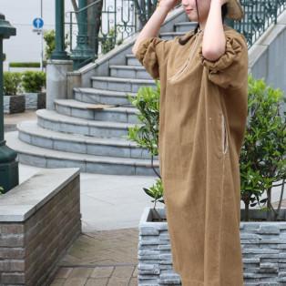 カディシャツデニムのハンド刺繍ドレス