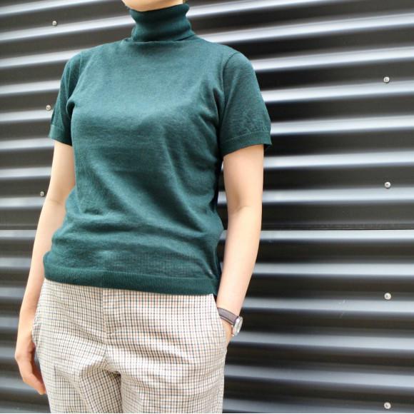 ギマ天竺ニットのハイネックTシャツ