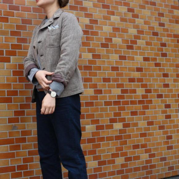 カルゼコットンツイードのジャケットとおこめ納戸×納戸のコイン5