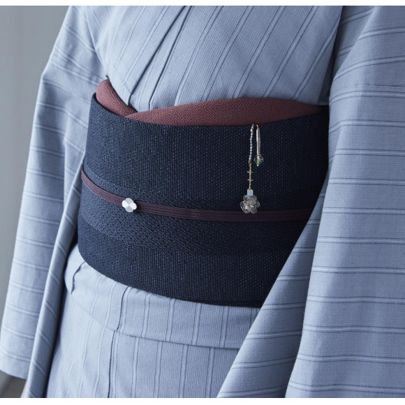 THE YARD 半巾帯/桐生/変わり縞/墨