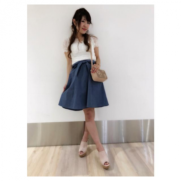 ウエストリボンフレアスカート♡yamamoto