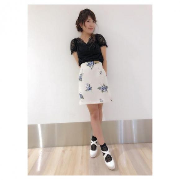 シャドウ花柄ハイウエスト台形スカート♡yamamoto