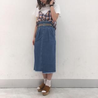 春物新作商品☆ベルト付ミドルスカート