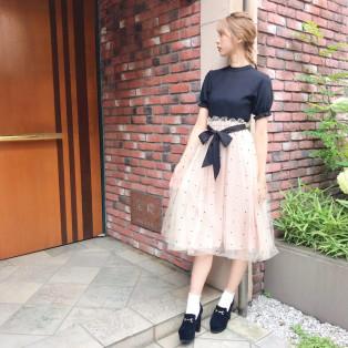 2wayリボンカットトップス×リボンチュールスカート♡