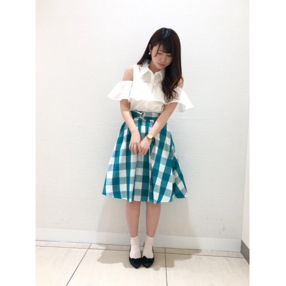 ブロックチェックフレアスカート♡