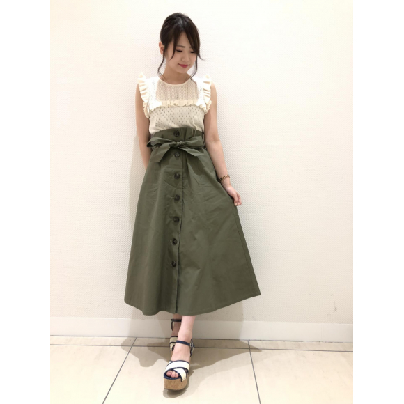 コットンツイルフロントボタンフレアスカート♡