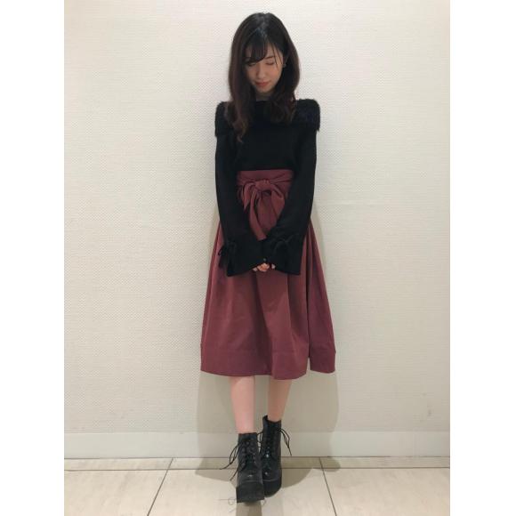 ワイドベルトフレアスカート♡