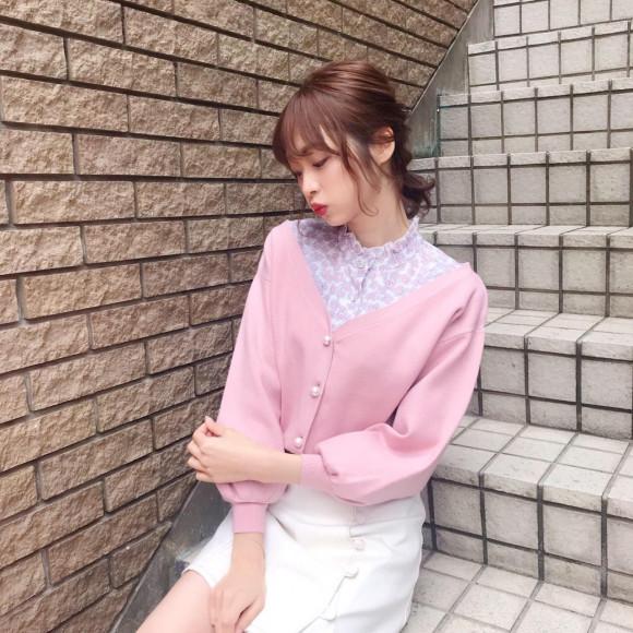 パール釦ショートカーディガン♡