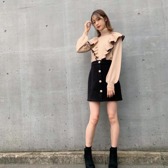 パールボタンミニスカート♡