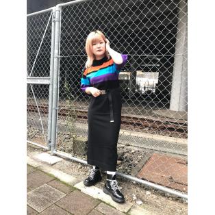 ☆STRIPED KNIT H/S MAXI DRESS☆