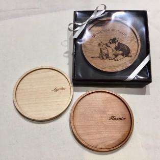 【記念品・大量ギフトにおすすめ☆】無垢材を使用した木製コースター
