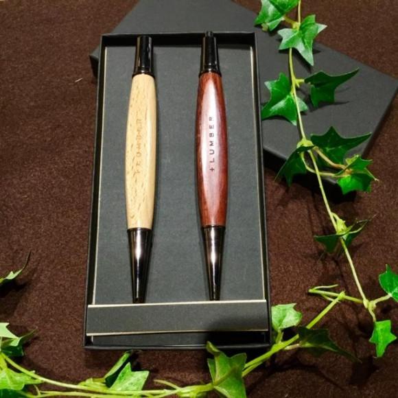 銘木の魅力をプラスした木製三角ボールペン・シャーペン ギフトセット