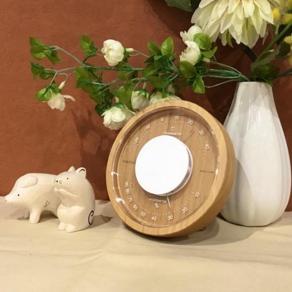 木製温湿度時計