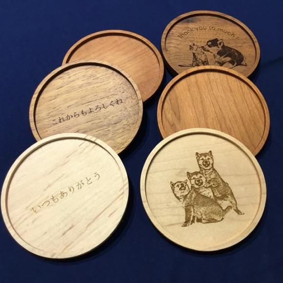 世界に一つだけの心のこもった贈り物ができる木製コースター