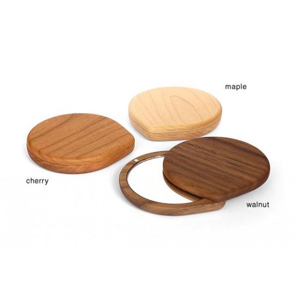 スライド式の木製コンパクトミラー