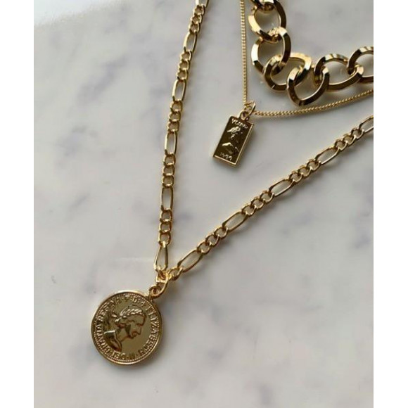 オーバーラップ コイン チェーン 3連 ネックレス