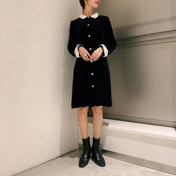 Monotone Velours Dress