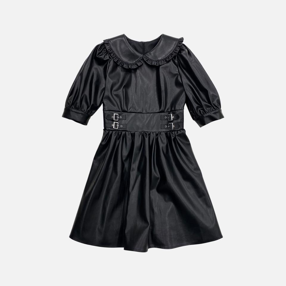 合皮连衣裙